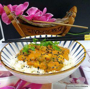 Recette Moules en sauce coco curry avec du riz thaï