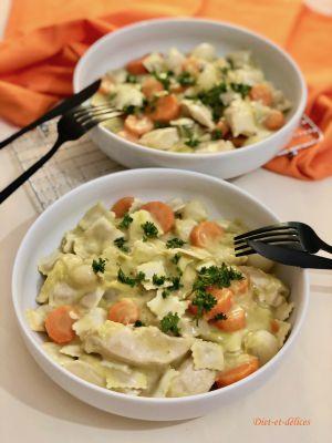 Recette Blanquette de poulet aux ravioles aux cèpes et petits légumes