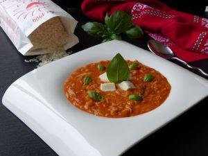 """Recette Risotto """"Caprese"""" (mozzarella, basilic et jus de tomate)"""
