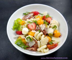 Recette Salade de pâtes au melon, mozzarella, jambon de Parme, …