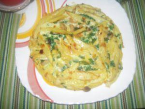 Recette Omelette Frites, Champignon, Persil, Oignon