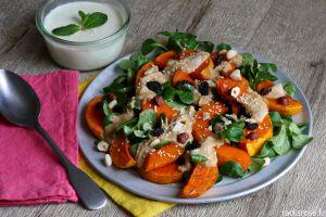 Recette Salade de butternut rôti houmous et vinaigrette à la feta