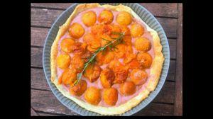 Recette Tarte aux abricots rôtis et curd aux fraises
