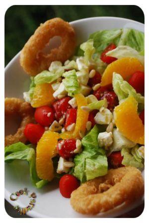 Recette Salade composée aux agrumes & calamars frits