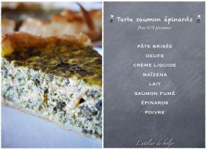 Recette Tarte ou quiche épaisse saumon épinards