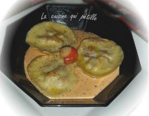 Recette Ravioles aux coquilles st jacques et sauce aux oursins