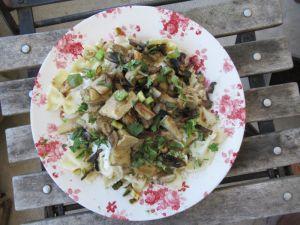 Recette Pâtes poulet-crème-champignons revisitées