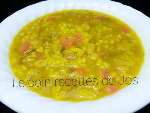 Recette Soupe d'orge et lentilles à l'indienne