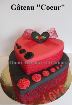 """Recette Gâteau """"Coeur"""" Rouge et Noir en Pâte à Sucre"""