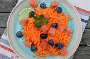 Recette Carotte râpée à la pastèque et aux myrtilles