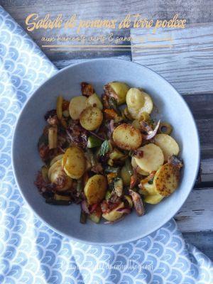 Recette Salade de pommes de terre poêlées aux haricots verts et sardines tomates