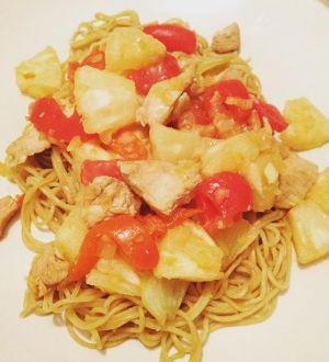 Recette Wok de poulet à l'ananas