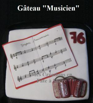 """Recette Gâteau """"Accordéon/Musicien"""" en Pâte à Sucre"""