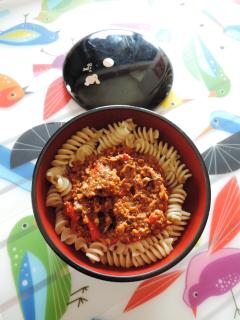 Recette Pâte sauce bolognaise dans le bentô du jour