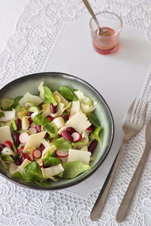 Recette Salade rose : radis, haricots rouges & vinaigre de framboises
