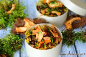 Recette Lentilles aux champignons pied-de-mouton