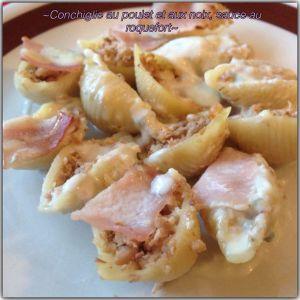 Recette Conchiglie au poulet et aux noix, sauce au roquefort (tour en cuisine 170)