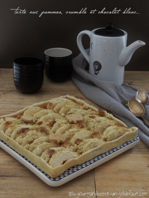 Recette Tarte aux pommes, crumble et chocolat blanc