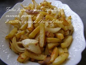 Recette Frites légères au four, oignons, échalotes, poivres, curcuma (Une façon de faire...) Frites coupées avec genius Nicer Dicer Plus