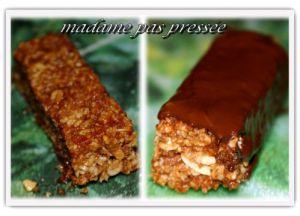 Recette Barre de céréale au chocolat et noix