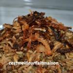 Recette Méjadra (riz, lentilles et oignons frits)