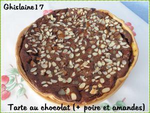 Recette Tarte au chocolat (+ poire et amandes)