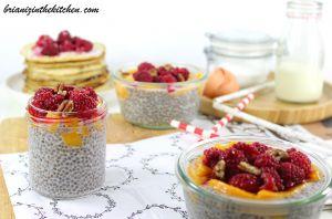 Recette Pudding de Chia Coco, Framboises & Mangue