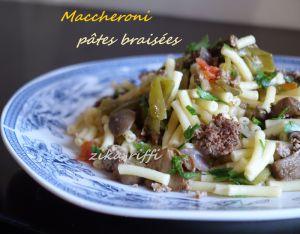 Recette Pâtes maccheroni a la viande hachée légumes et champignons