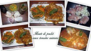 Recette Hauts de poulet sauce tomates cuisinées