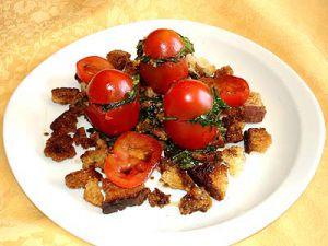 Recette Tomates Farcies aux Pissenlits sur Lit de Croutons