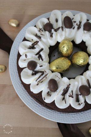 Recette Financier géant au chocolat & sa chantilly pour Pâques