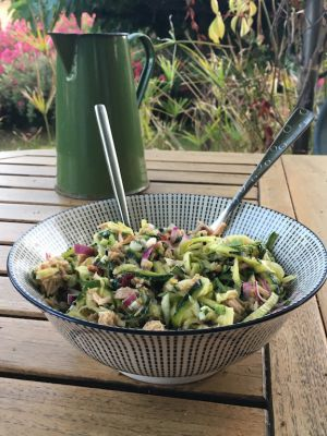Recette Spaghetti de courgettes en salade de thon et câpres