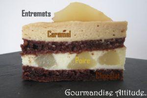 Recette Entremets caramel, poires et chocolat
