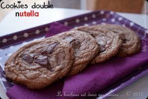 Recette Cookies double Nutella® {avec du Nutella dans la pâte et avec des chunks de Nutella}