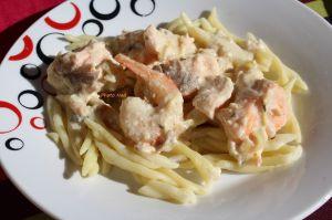 Recette Pâtes au Saumon et Crevettes, Sauce au Boursin