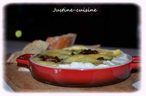 Recette Camembert rôti au four, farci aux lardons et échalote