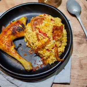 Recette Risotto aux courges et poivrons, pancetta grillée