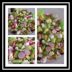 Recette Salade vertes, avocat, olives vertes, radis rose, concombre et feta
