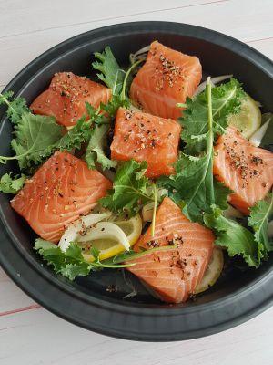 Recette Purée de carottes à la citronnelle, saumon au citron