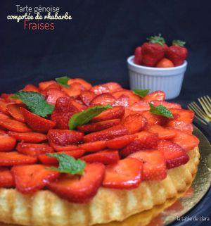 Recette Tarte génoise compotée de rhubarbe et fraises