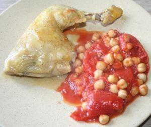 Recette Cuisse de poulet aux tomates et pois-chiches au cumin
