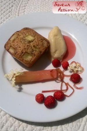 Recette Rhubarbe & fleur de sureau : moelleux amande, rhubarbe confite, sorbet rhubarbe-fleur de sureau