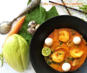 Recette Soupe Thaï de Curry Jaune aux Légumes Péi, Crevettes et Oeufs de Caille