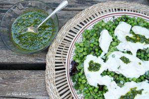 Recette Salade de fèves, petits pois et burrata