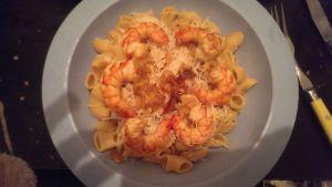 Recette Pâtes crevettes et sauce orange