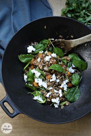 Recette Salade complète d'hiver - riz sauvage, champignons et courge