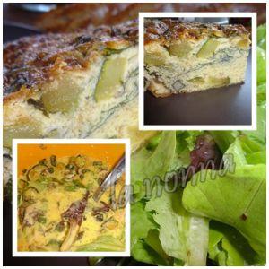 Recette Frittata de courgettes,asperges vertes, melange de jeunes pousses mentholée