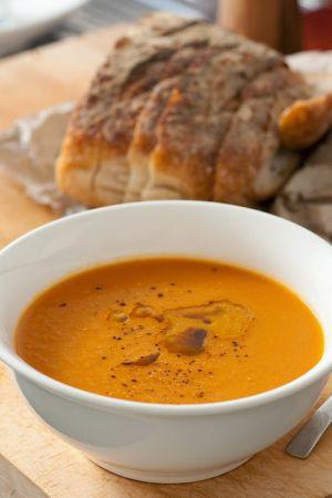 Recette Soupe à la citrouille et aux haricots secs