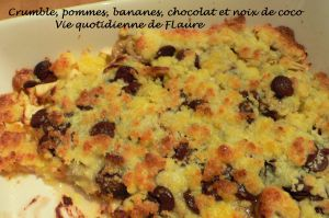 Recette Crumble, pommes, bananes, chocolat et noix de coco