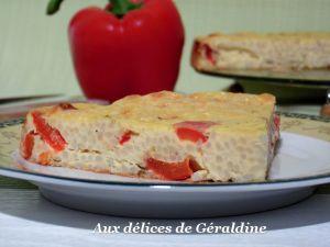 Recette Frittata au poivron, riz et fromage de chèvre